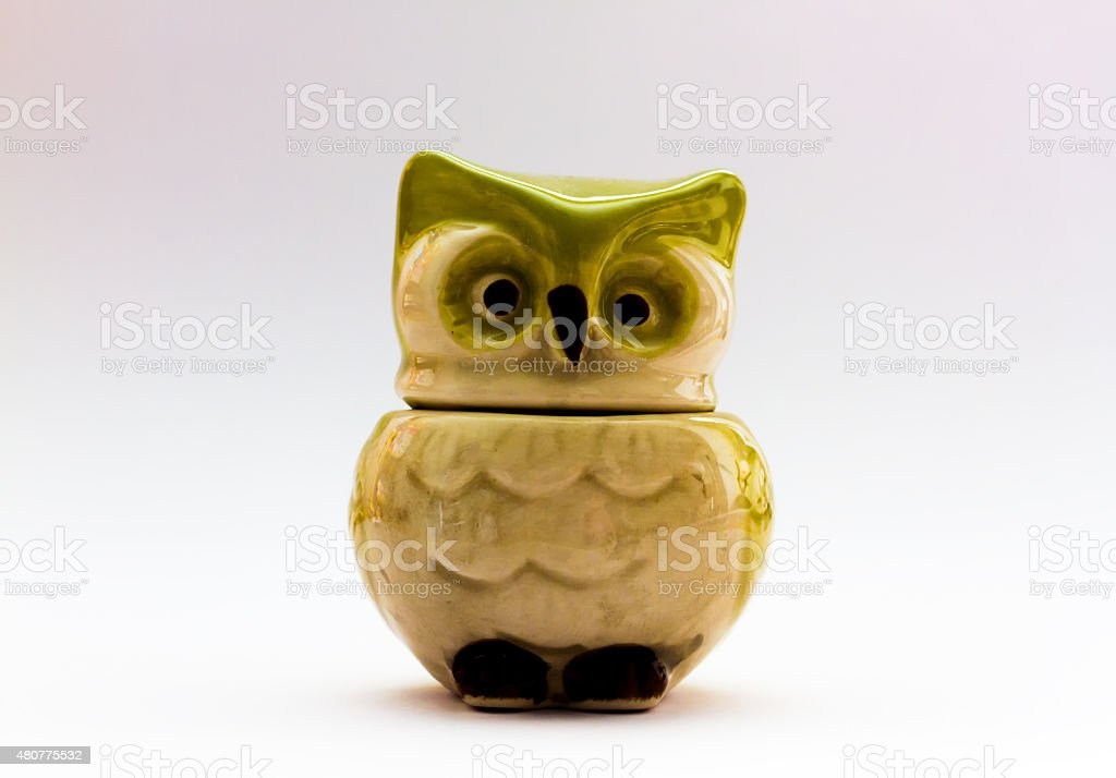 Mid Century Ceramic Owl Kitchen Measuring Cup stock photo