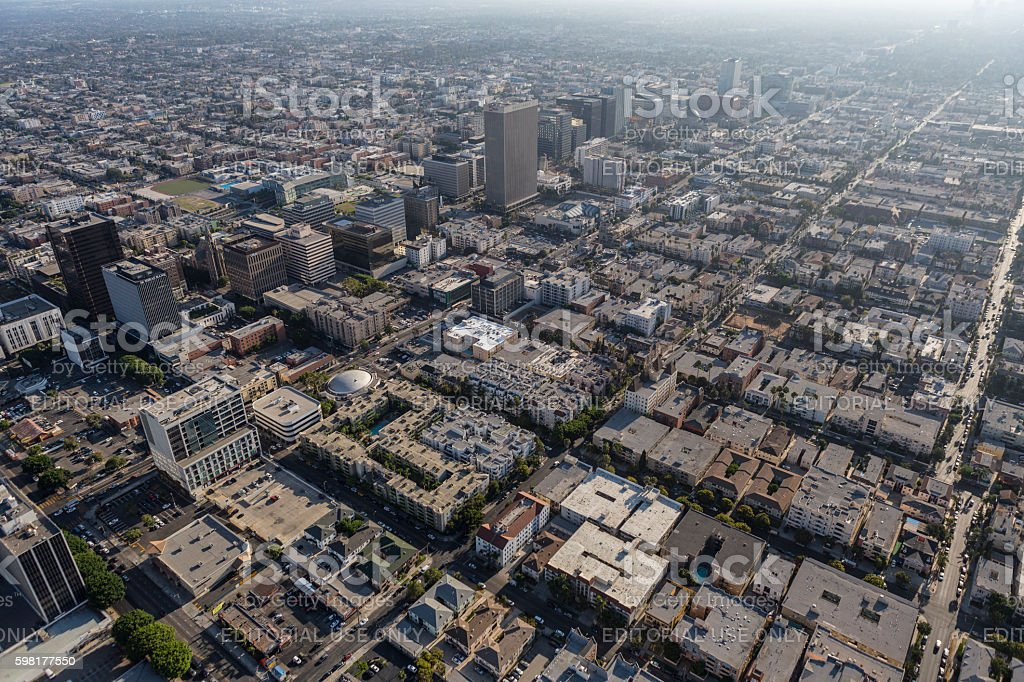 Mid City Los ANgeles Summer Afternoon Aerial stock photo