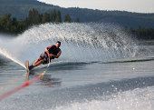 Mid forties male waterskiing
