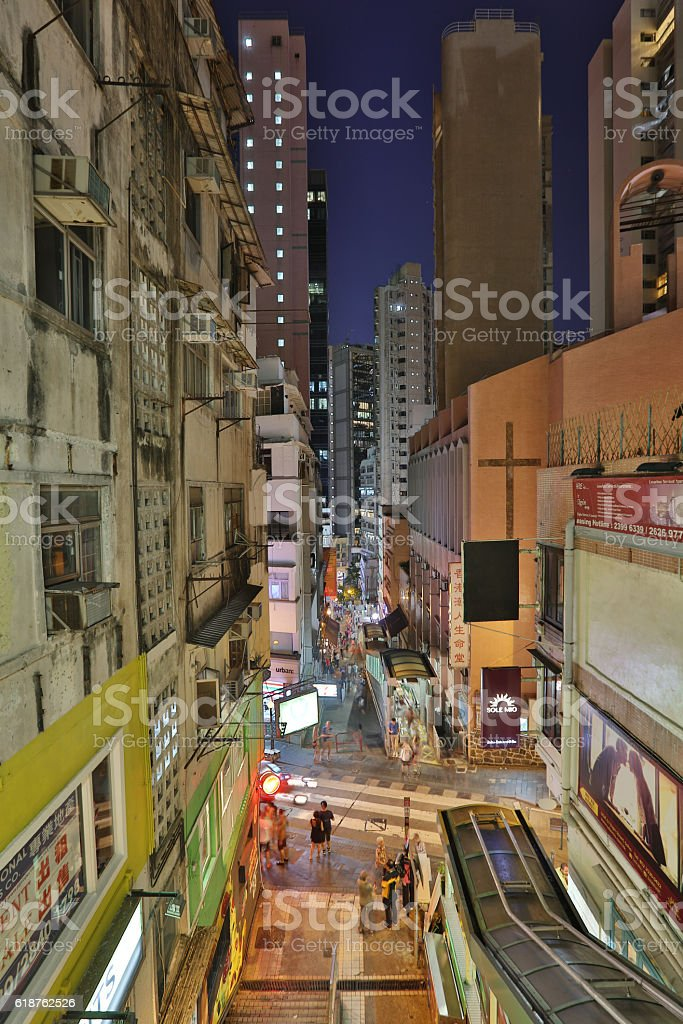 Mid Levels escalator and walkway system stock photo