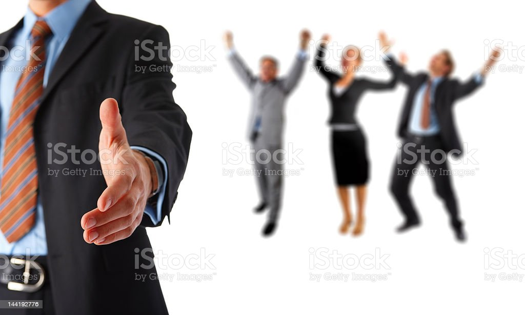 Mid section view of a businessman offering for handshake royalty-free stock photo