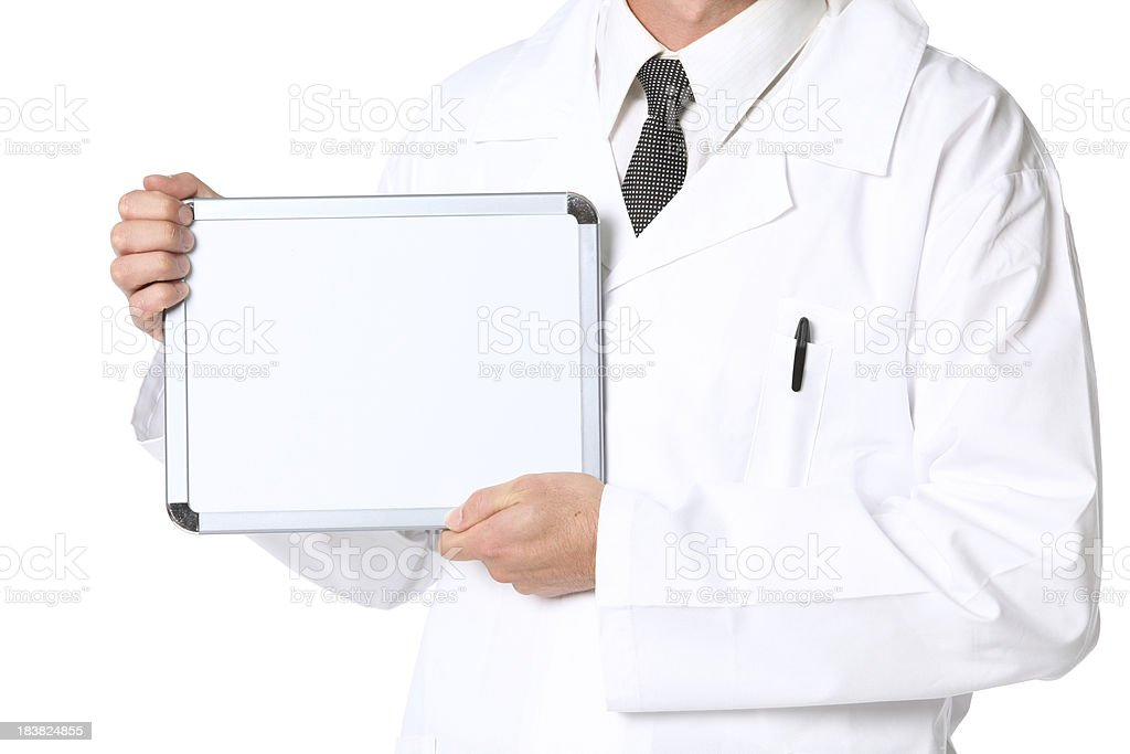 Mid section view of a male doctor showing white board royalty-free stock photo