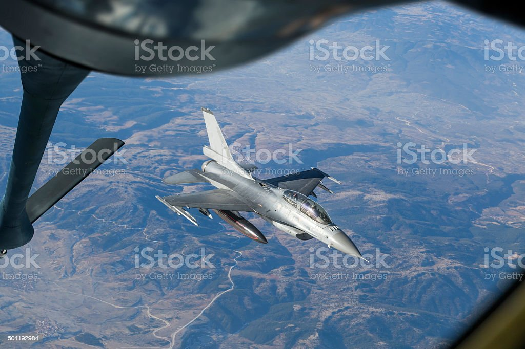 Mid-air refueling stock photo