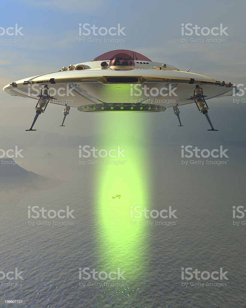 Mid-Air Saucer Abduction royalty-free stock photo