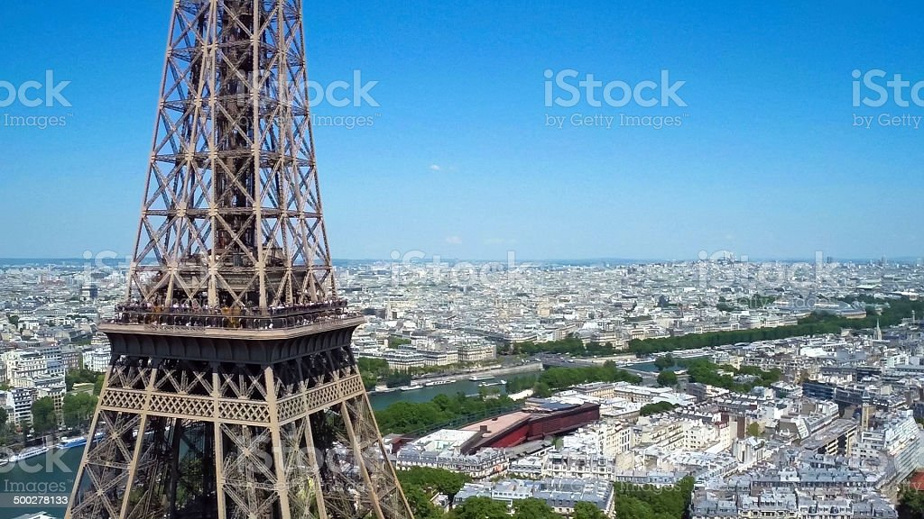 Mid-air side view of Eiffel tower in Paris, France royalty-free stock photo