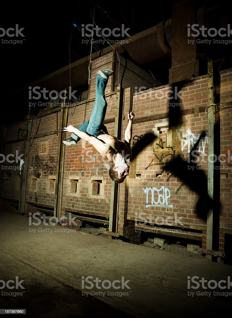 Mid-air somersault stock photo
