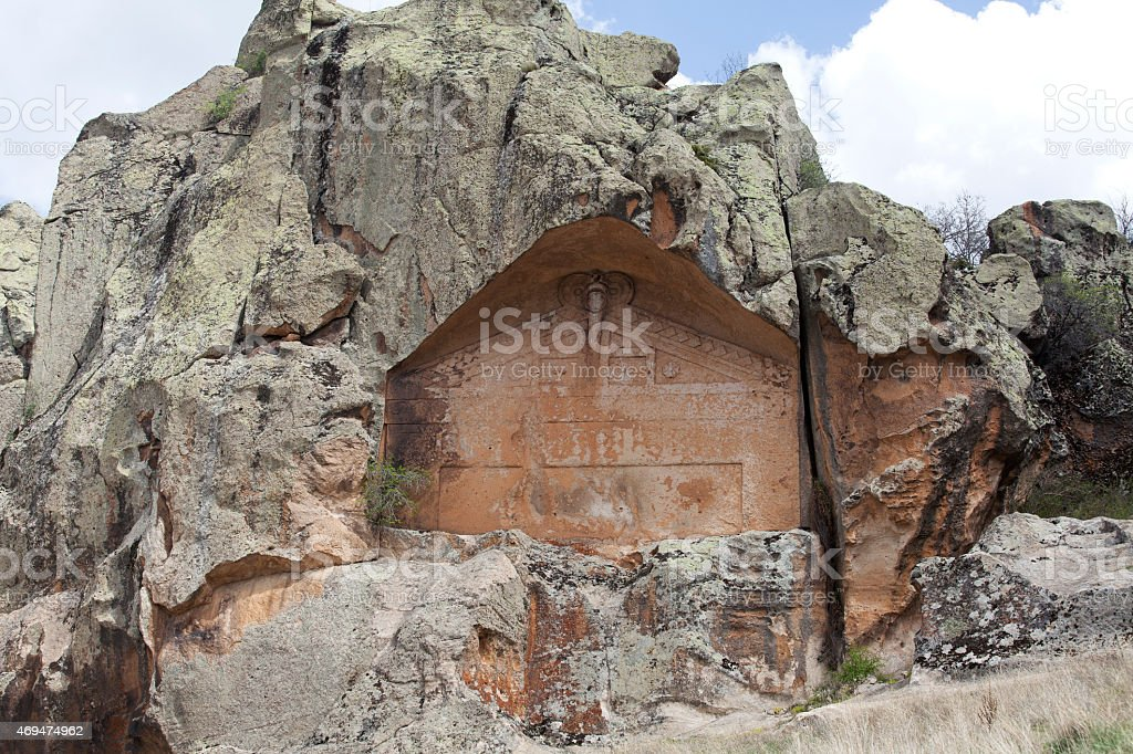 Midas Monument of Ancient Midas City in Yazilikaya, Eskisehir, stock photo