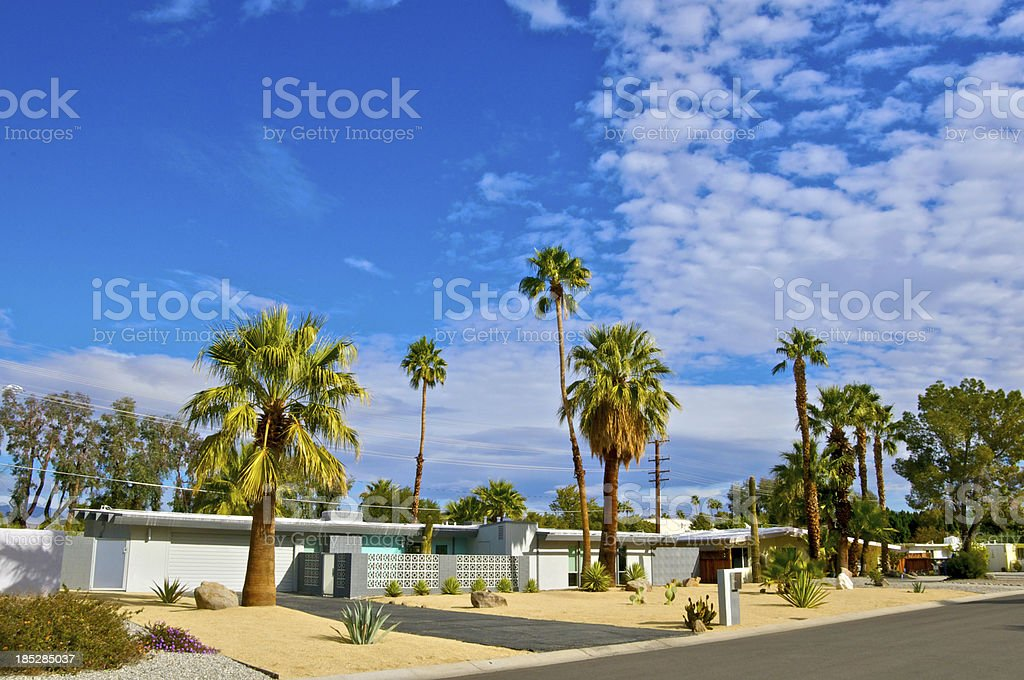Mid-century modern homes in Palm Springs, California stock photo