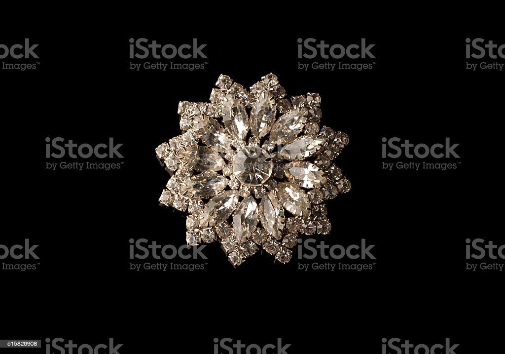 Mid-century Modern rhinestone brooch stock photo