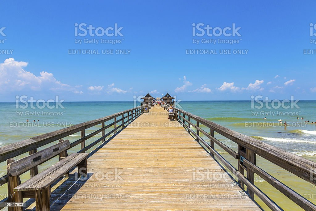 Midday at Naples pier on beach Golf of Mexico, Florida stock photo