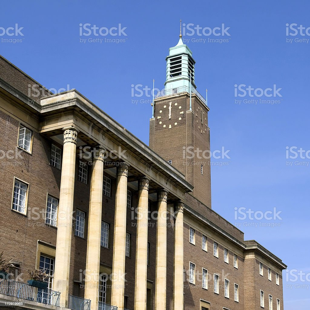 Midday at Norwich City Hall royalty-free stock photo