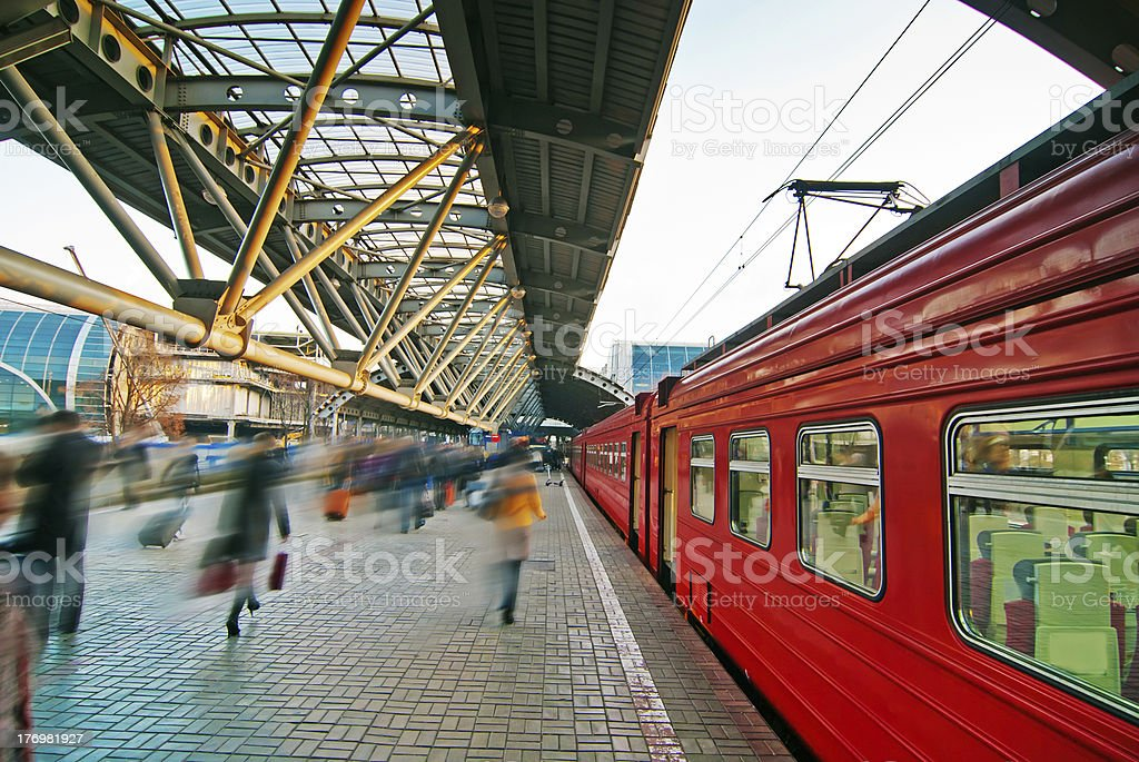 Midday on a sunny day at a train station stock photo