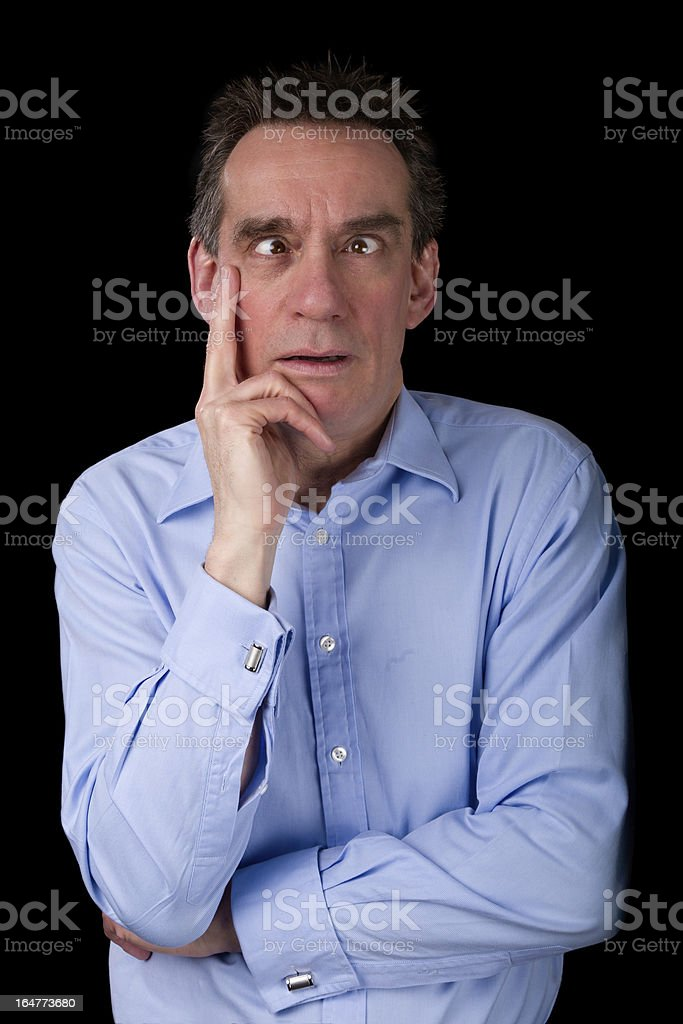 Middle Age Business Man Pulling Funny Cross Eyed Face royalty-free stock photo