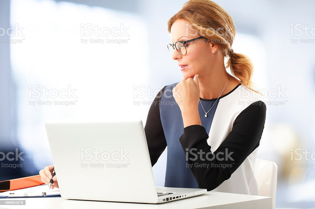 Middle age business woman stock photo