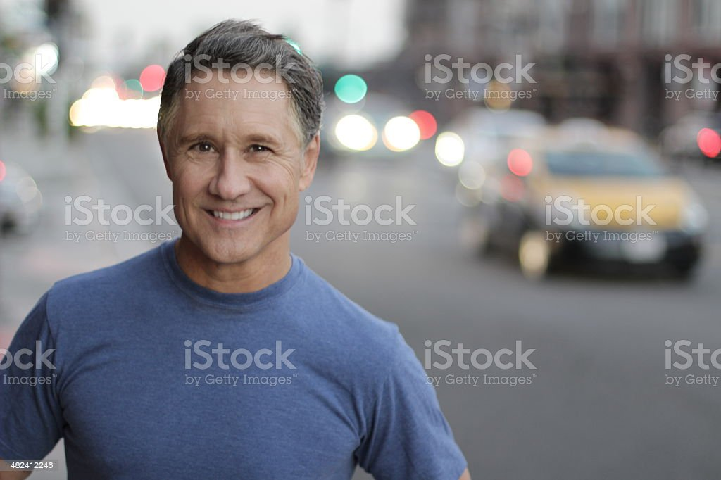 Middle age male in the city stock photo
