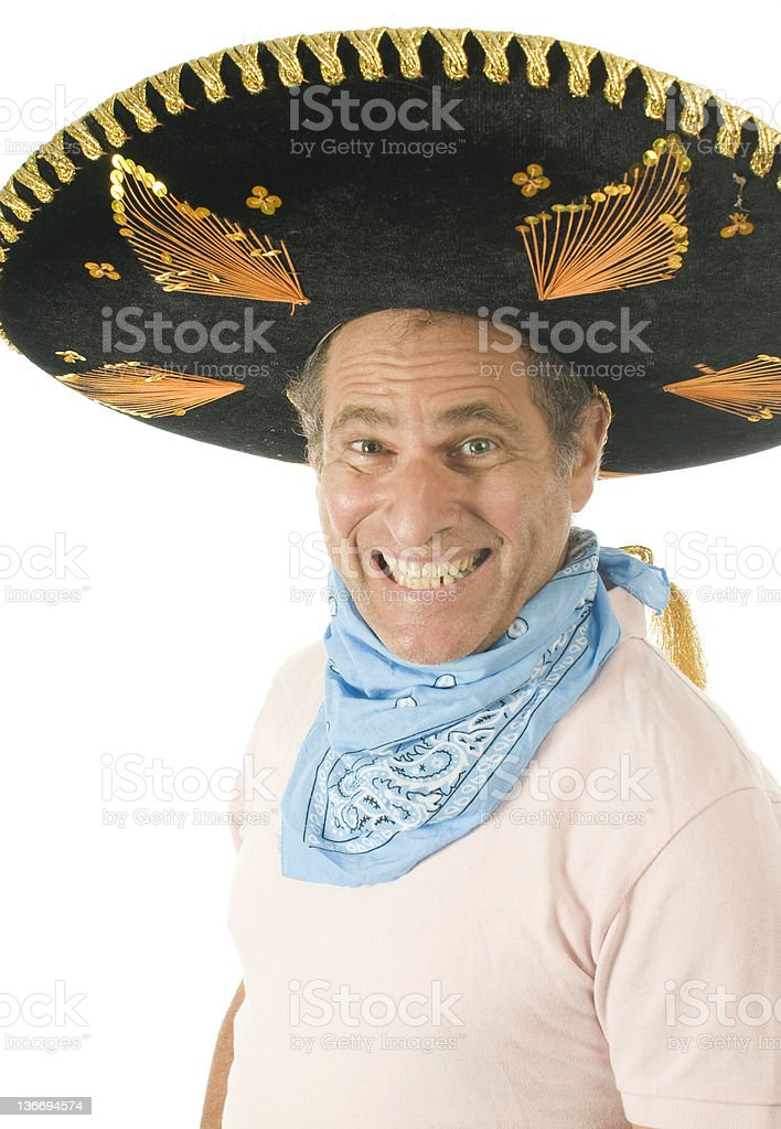 middle age senior  male wearing Mexican  hat  bandana stock photo