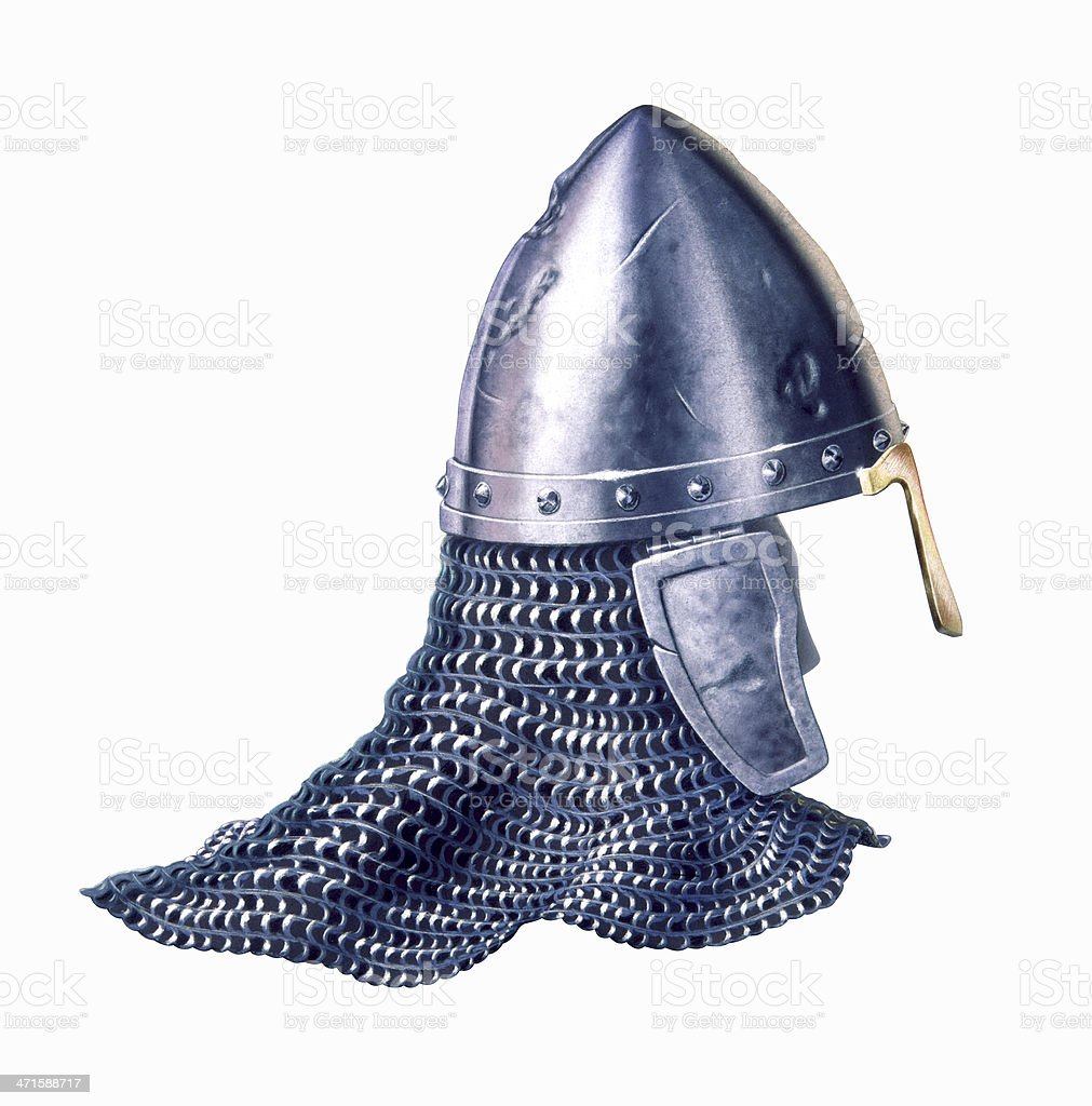 Middle age warrior helmet, at white background. royalty-free stock photo