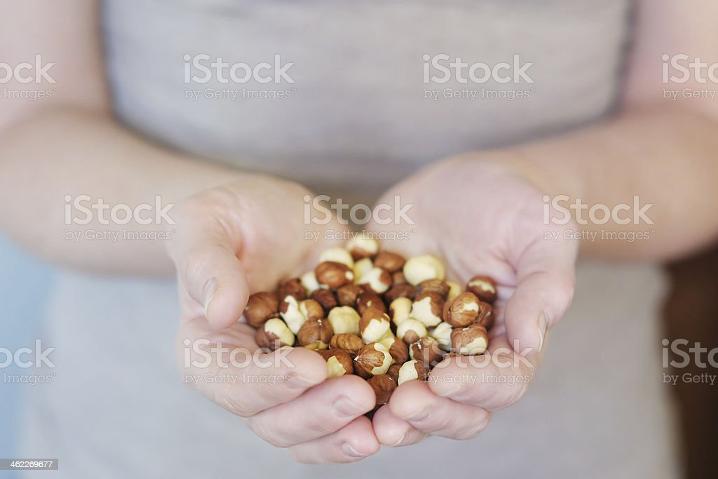 Middle age woman holding hazelnuts in her hands stock photo