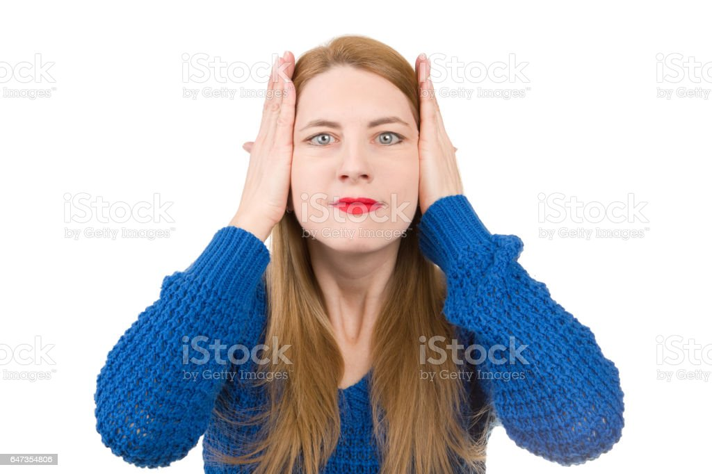 Middle Age Woman Pulling Her Wrinkles Away stock photo