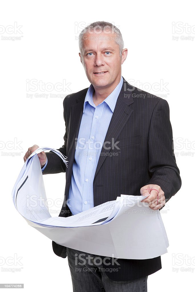 Middle aged architect with building plans royalty-free stock photo