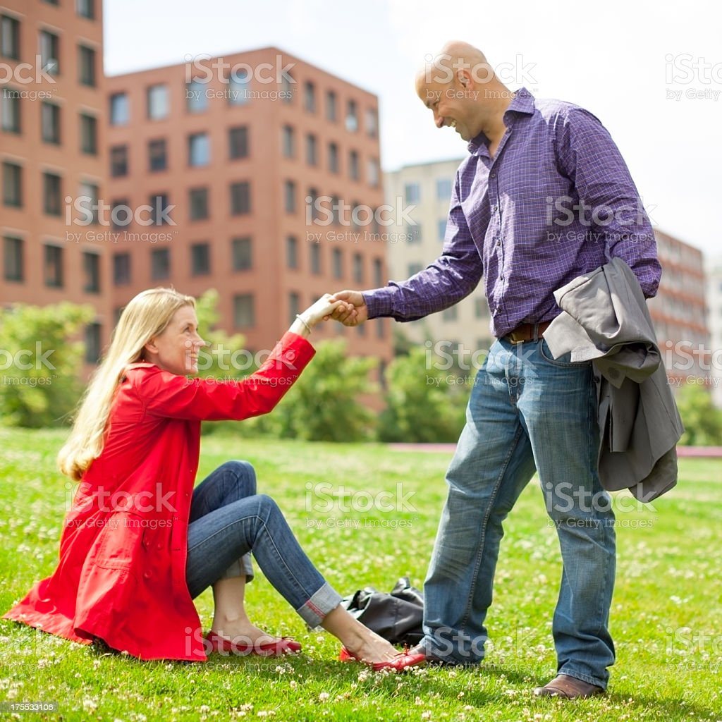 Middle aged caucasian couple in a city park stock photo