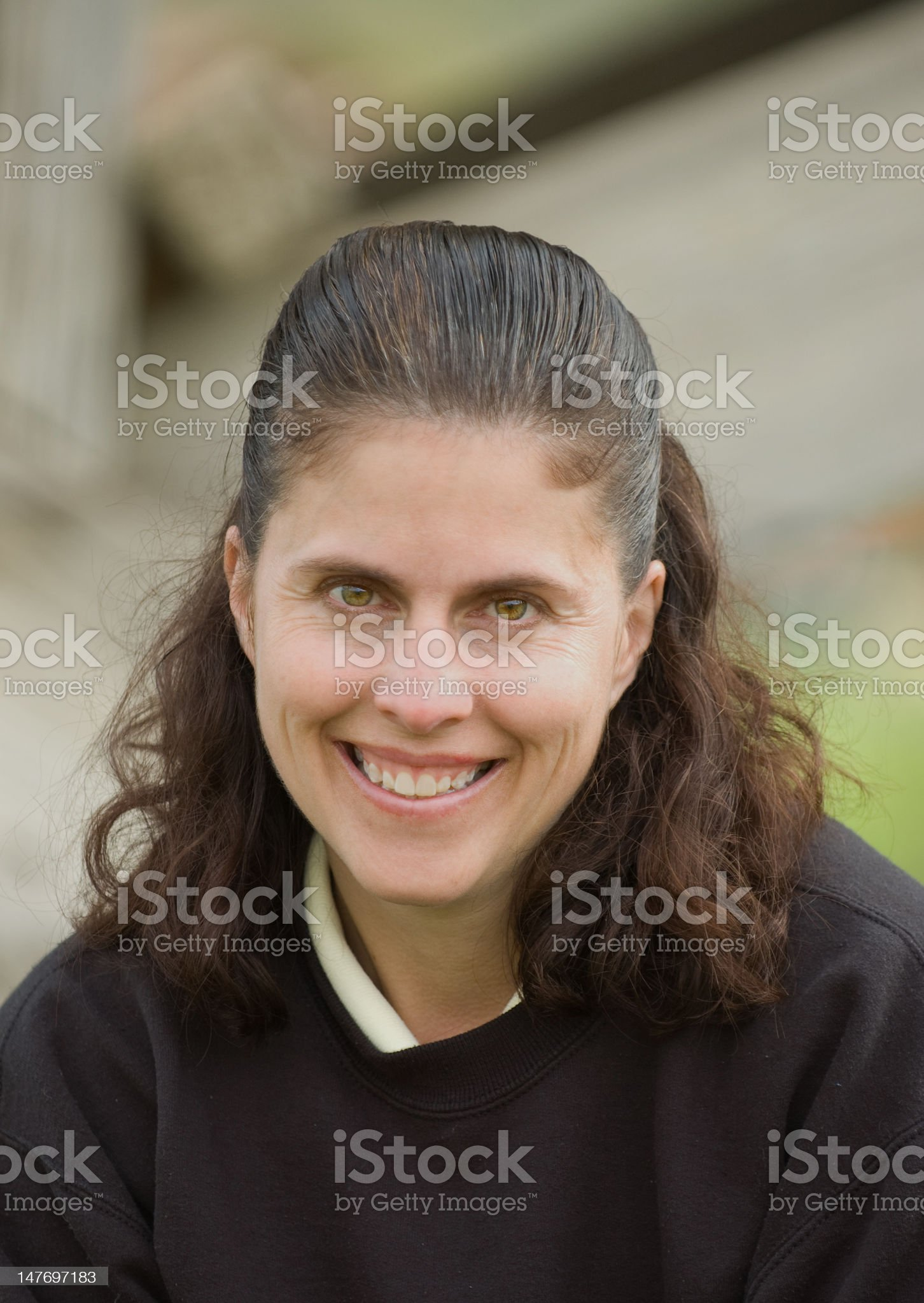 Middle aged caucasian woman outdoors royalty-free stock photo