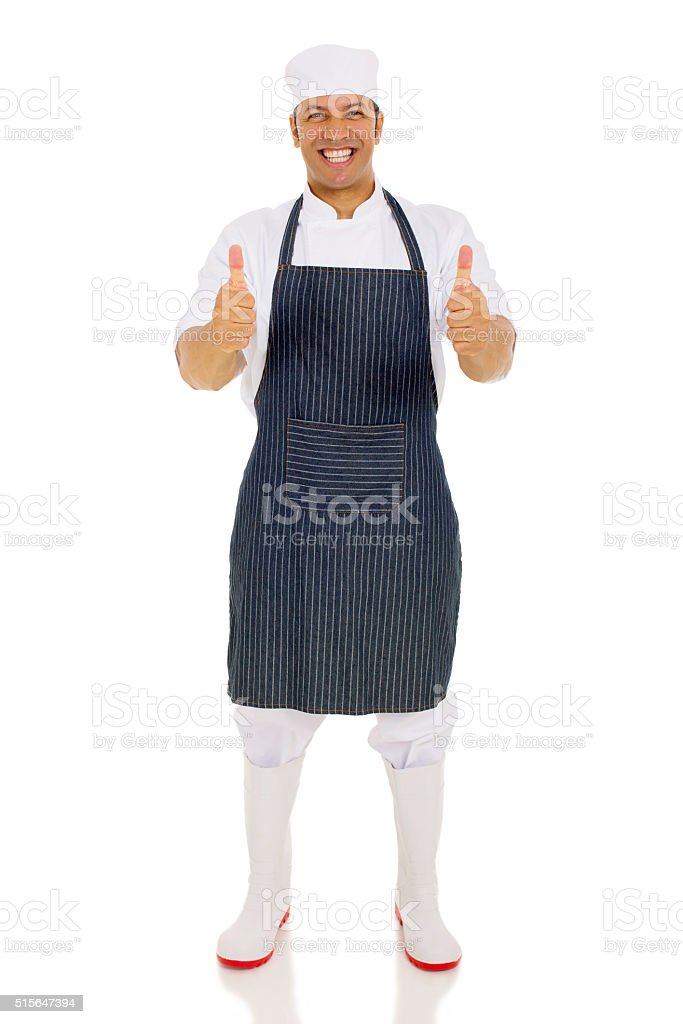 middle aged chef giving thumbs up stock photo
