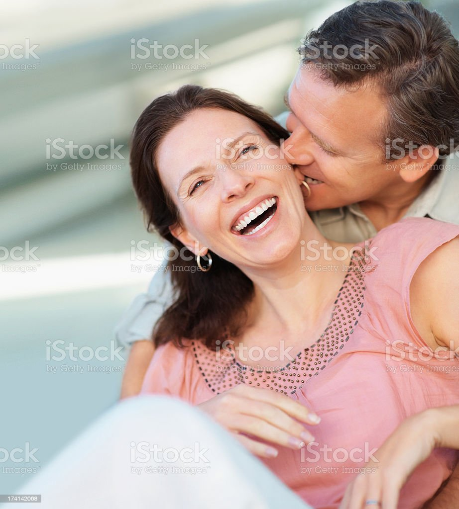 Middle aged couple spending a romantic time together stock photo