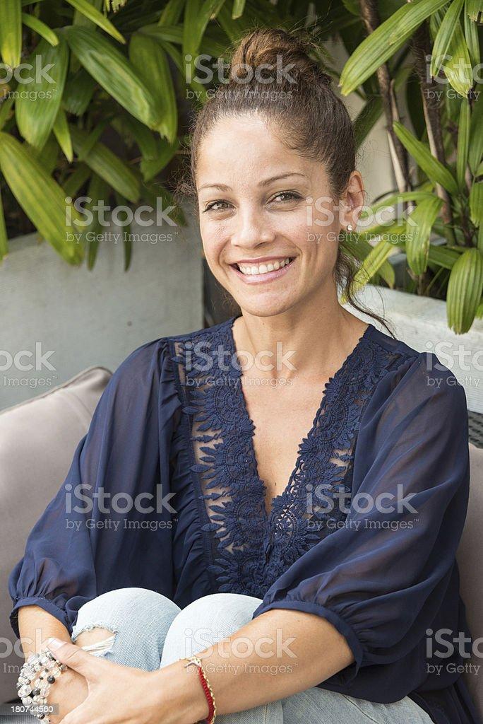 Middle aged Hispanic woman smiling stock photo