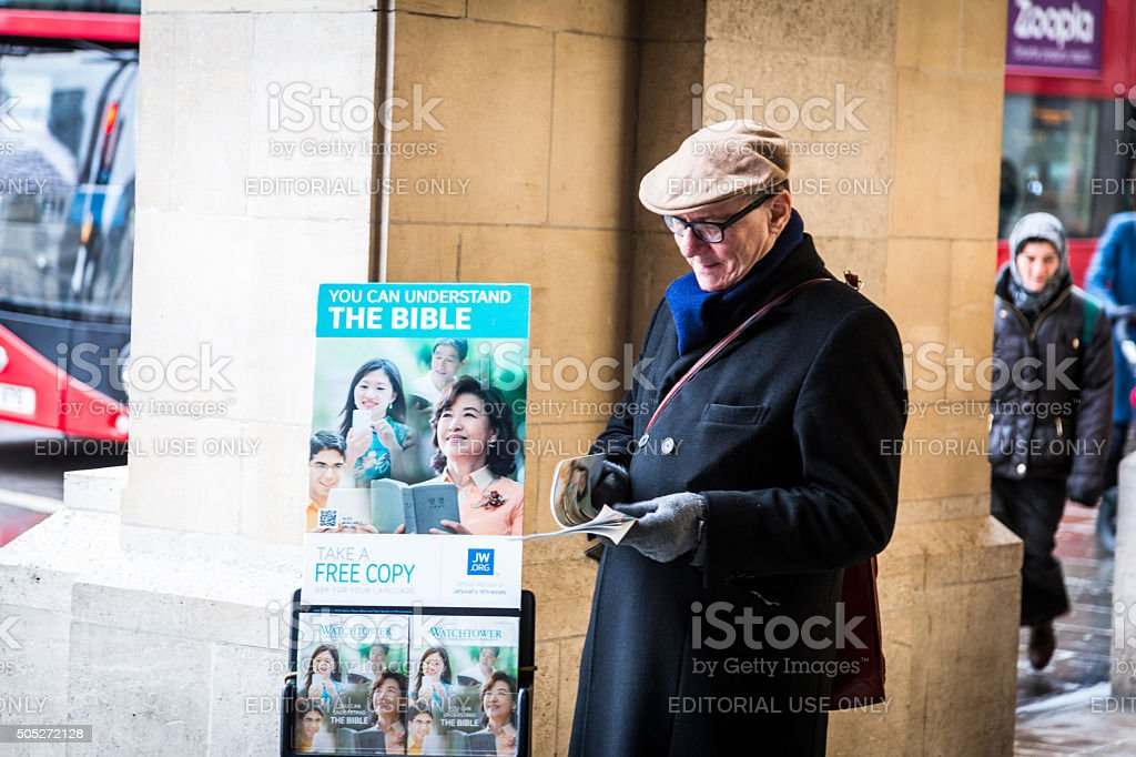 Middle aged male Bible Preacher in Trafalgar Square, London, UK stock photo
