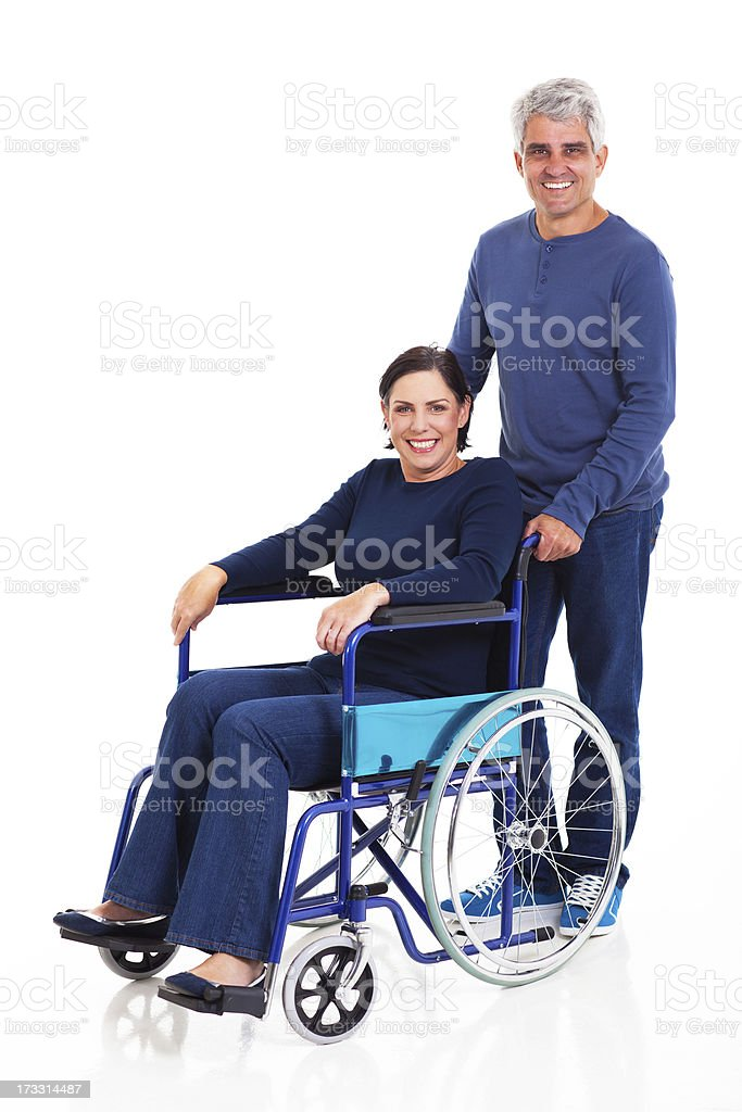 middle aged man and handicapped wife royalty-free stock photo