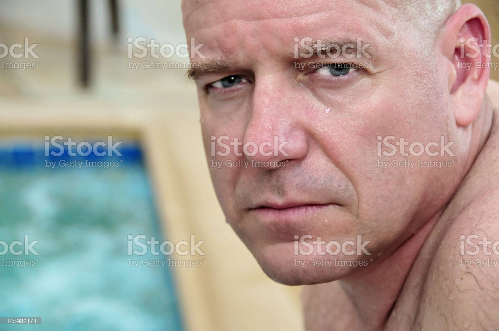 Middle Aged Man at Pool royalty-free stock photo