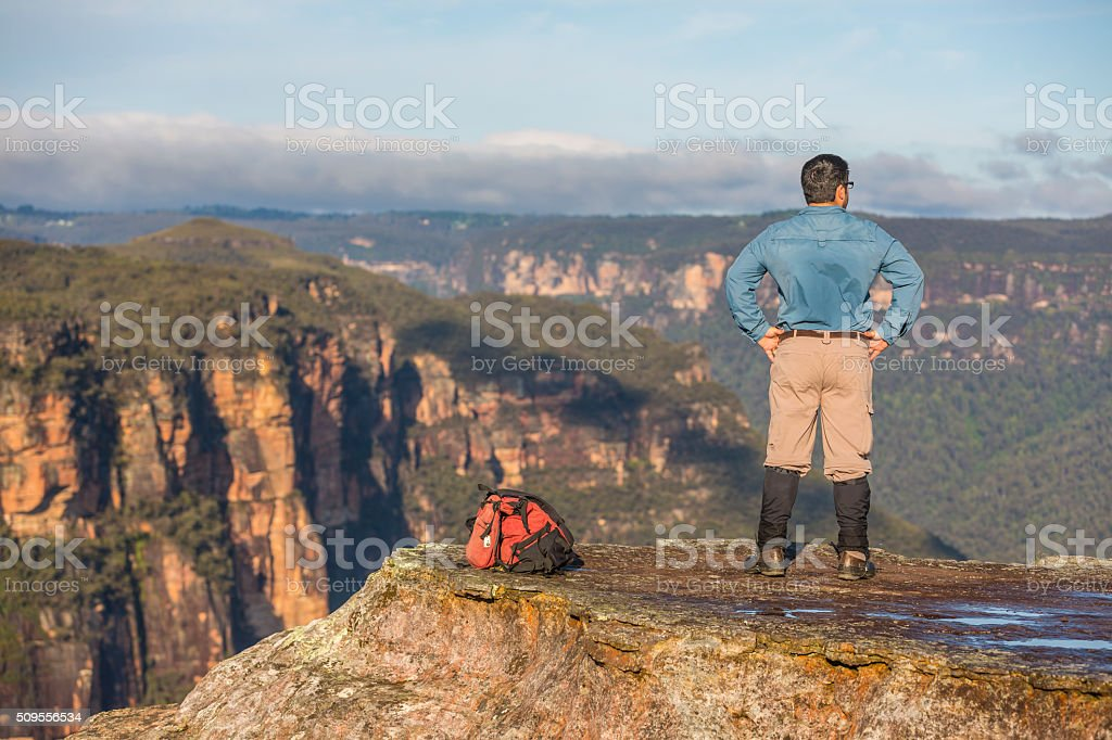 Middle Aged Man Bushwalking in Spectacular Blue Mountains Australian Landscape stock photo