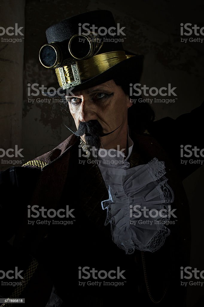 Middle aged man dressed in Steampunk clothing stock photo