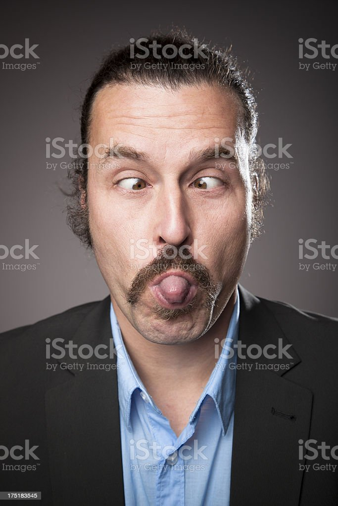 Middle aged Man Expressions - Sticking out Tongue royalty-free stock photo