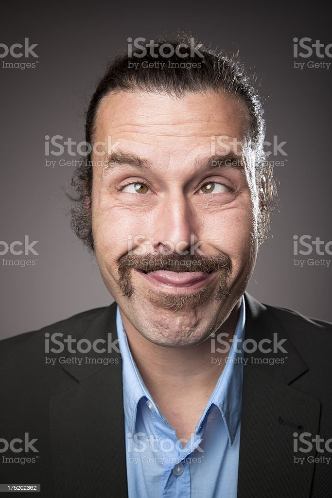 Middle aged Man Expressions - Weirdo royalty-free stock photo