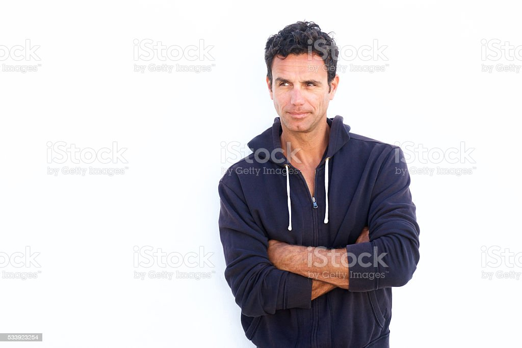 Middle aged man glancing stock photo