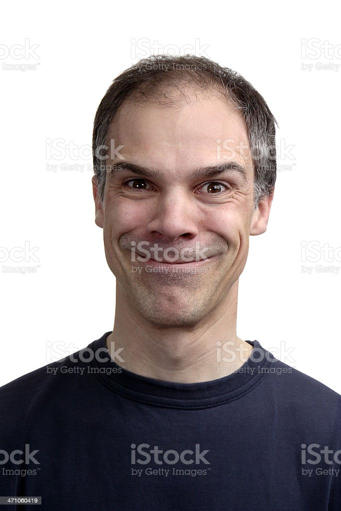 Middle aged man grinning from ear to ear stock photo