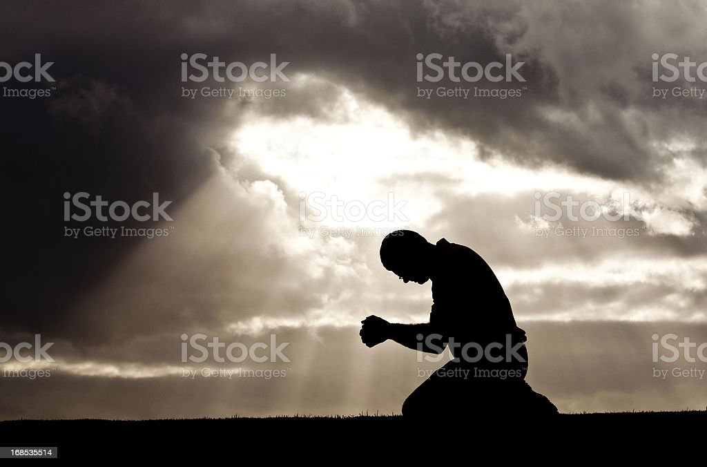 Middle Aged Man Prayer Silhouette royalty-free stock photo