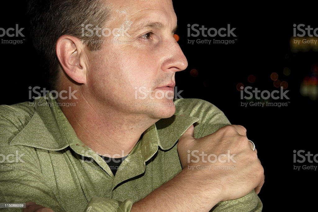 middle aged man profile royalty-free stock photo