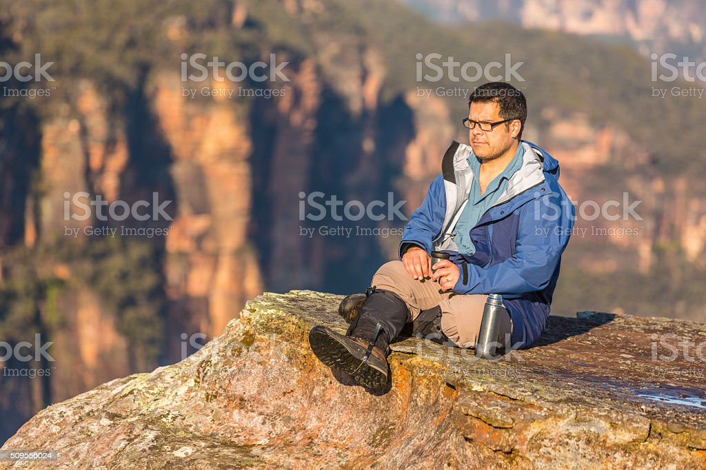 Middle Aged Man Resting While Bushwalking in Blue Mountains Australia stock photo