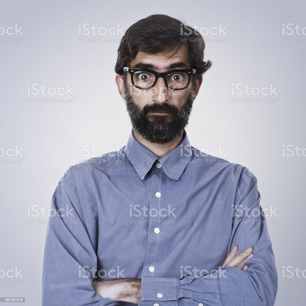 Middle aged man with heavy rimmed glasses. royalty-free stock photo