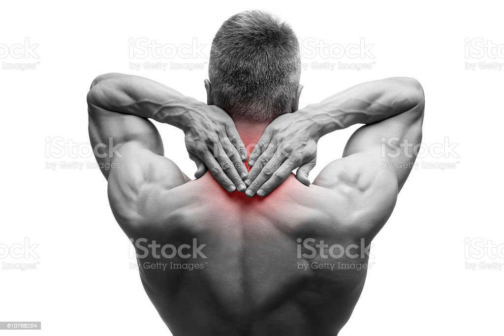 Middle aged man with pain in neck, muscular body, isolated stock photo