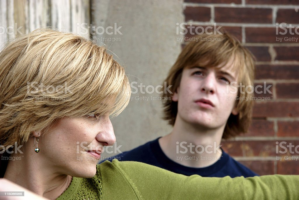 middle aged mother - teenage son royalty-free stock photo