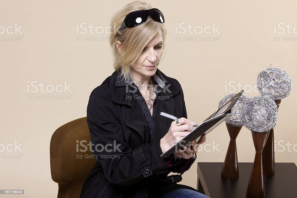 middle aged office female retro design stock photo