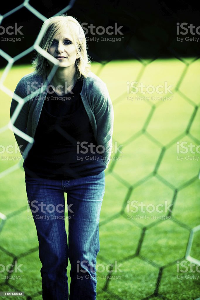 middle aged soccer mom stock photo