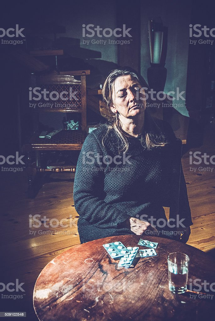 Middle Aged Woman Frustrated at Home stock photo
