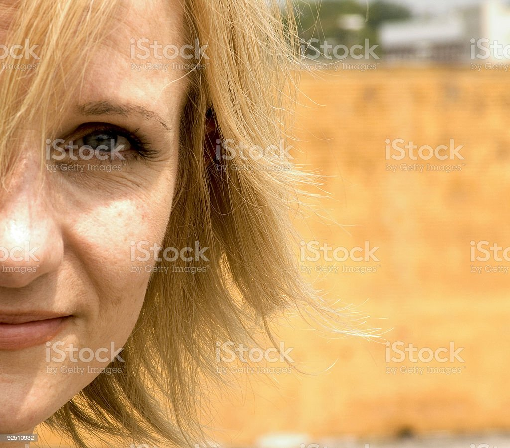 middle aged woman portrait stock photo