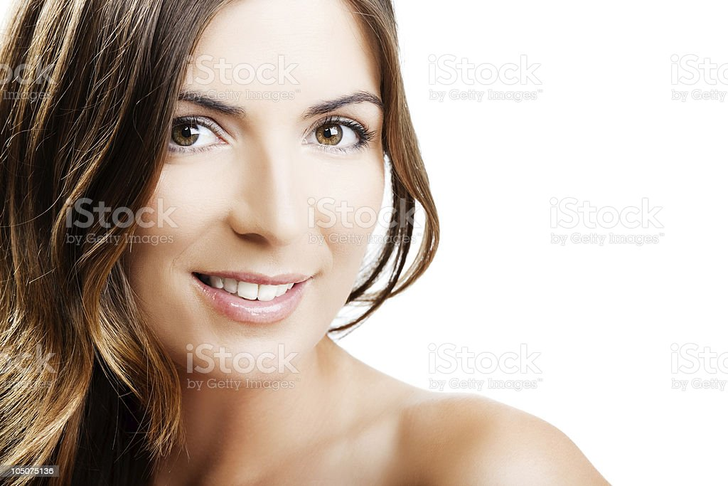 A middle aged woman smiling at the camera  royalty-free stock photo