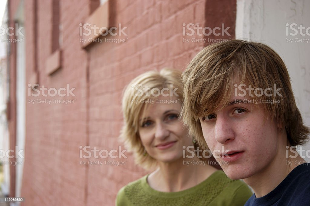 middle aged woman teen boy son royalty-free stock photo